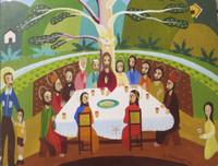 """Arcadio Franco #2219. """"Entomo Cubano para una santa cena,"""" 1999. Oil on canvas, 10 x 12 Inches."""