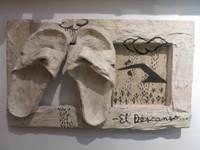 """Juan Karlos Echeverria Franco #2207. """"El Descanso,"""" N.D. Mixed media sculpture. 12 x 20 x 4 inches."""