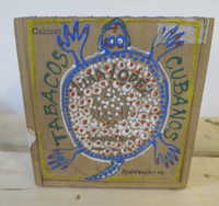 "Montebravo (José Garcia Montebravo)  ""Tabacos Cubanos,"" 2000. Acrylic on wood cigar box. 4 x 5.25 x 5.5 inches"