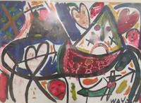 "Untitled, Wayacon #4966. No date. Acrylic on paper, 13"" x 19""."