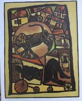 """Miguel Angel Lobaina #2449. """"Por mi ciudad,"""" N.D. Etching print, 19.75 x 15.25 Inches."""