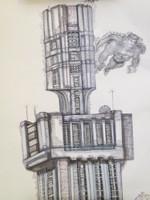 """""""Visitantes en la Habana"""", Yamilys Brito Jorge #6109. 2012. Ink on paper, 25"""" x 18""""."""