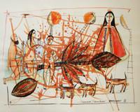 """Montebravo (José Garcia Montebravo)  #2625. """"Espacios transitados,""""  2002. Mixed media on paper. 19.5 x 25.5 inches."""