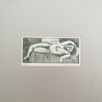 Leonel Lopez-Nussa  #3094. Untitled, 1977. Etching print edition 7 of 13. 7.5 x 10 inches.