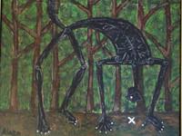 """Alazo - Alejandro Lazo #4340. """"Mfumbe rastreador,"""" 2007. Oil on canvas . 19 x 22.5 inches. SOLD!"""