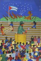"Llopiz (Angel Llopiz Martinez) #6453. ""Yo soy Fidel,"" 2016. Oil on canvas. 17.25 x 12 inches"