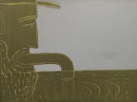 """Carlos Cárdenas #6331. """"Ahorando mas, tendremos mas,"""" 1988. Acrylic on canvas. 16.25 x 22.5 inches."""