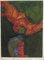 "Andy (Angel Rivero Sierra) #3427. ""Desprentimiento,"" 2003. Collagraph print edition 1 of 3.  12 x 9.5 inches."
