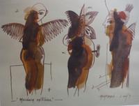 "Montebravo (José Garcia Montebravo)  #5075.""Mecanica extrana,"" 2009. Watercolor and ink on paper. 9.75 x 12.75 inches."
