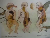 "Montebravo (José Garcia Montebravo)   #5076. ""Mecanica extrana,"" 2009. Water color and ink on paper. 9.75 x 13 inches."