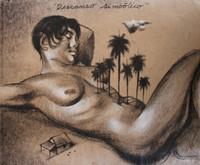 "Copperi (Luis Alberto Perez Copperi) #5113. ""Descanso sinbolico,"" N.D. Printers ink on craft paper. 18.5 x 22.5 inches."