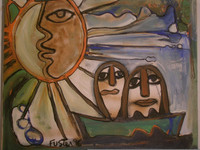 "Fuster (José Rodríguez Fuster) #1266. ""Sol naciente,"" 1996. Oil on canvas, 20 x 24 Inches. SOLD!"