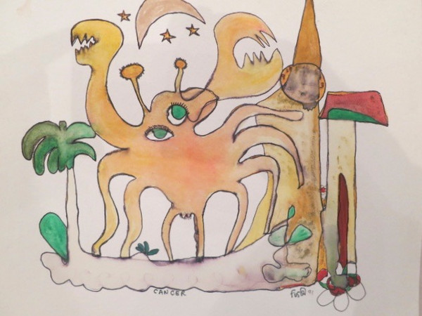 """""""Cancer"""" by Jose Fuster, #389. 1991. 12"""" x 13.5"""". Watercolor on paper."""