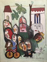 """Fuster (José Rodríguez Fuster) #1325. """"Los Cubanos,"""" Mixed media, oil and ink on canvas. 22.5 x 15.75 inches.  SOLD!"""