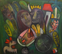 Fuster (José Rodríguez Fuster) #3479.  Untitled, 1997. Oil on canvas.  38 x 44 inches.