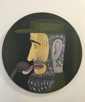 """Carlos Cárdenas #6326. """"El come tabla,"""" 2010. Acrylic on wood. 18"""" diameter."""