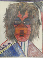 "Bernard Sarria #6448. ""Beethoven,"" 1994. Color pencil on paper. 12 x 9.5 inches."
