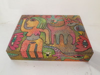 Antonio Rodriguez Hernandez (RHA) #6707. Hand painted cigar box. 7.5 x 2 x 10 inches.