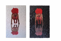 """Mabel Poblet, """"Desconstruida,"""" 2015. Diptych, 3/3. Mixed media. Each 29.5 x 17.5 Inches. SOLD!"""