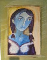 "Sandra Dooley #5205. ""En la Ventana II,"" 2010. Oil on canvas, 18"" x 14"""
