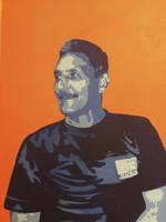 "ILeana Sanchez-Hing #5289. ""Retrato de Rogelio,"" 2010. Acrylic on canvas. 19.5 x 23.5 inches."