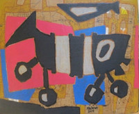"""Mederox (José Mederos Sigler)  #9002. """"Batabano"""", 2014. Mix media, acrylic and collage, 19  x 23 inches. SOLD!"""