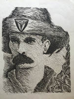"Miguel Angel Lobaina #1639. ""Nuestro heroe nacional,"" N.D. Lithograph print P/A. 21 x 17 inches."