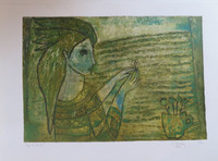 "Sandra Dooley #7093. ""La Ventana,"" 2014. Collagraph print, 12  x 17.5 Inches"