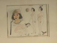 Montebravo (José Garcia Montebravo)  #1931. From the series: Escena fantastica, 1999, ink/watercolor on paper, 8.5 x 11 inches. SOLD!