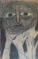"Joel Jover #3567. ""Los miedos IV,"" 1984. Mixed media on paper. 24 x 16 inches."