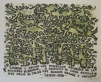 """Sosabravo (Alfredo Sosabravo) #600 . """"Ladren y aullen los perrillos,"""" 1975. Linoleum print, 2/10.  20 x 24 Inches. SOLD!"""