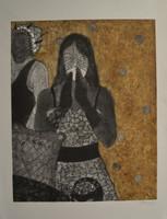 "Jenni Ferro #5792. ""Que hable ahora o calle para siempre,"" 2012. Collagraph print editin 8/10. 34 x 26.5 inches."