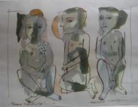 "Montebravo (José Garcia Montebravo)  #5130. ""Escena fantasticas,"" 2004. Watercolor and ink on paper. 9 x 12 inches. SOLD!"