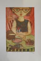 """Sandra Dooley #8048. """"Opcionces de la mesa,"""" 2015. Artist proof print, 17 x 11.5 Inches. SOLD!"""