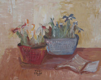 "Sandra Dooley #3980. ""Flores,"" 2005. Oil on pressed board. 8 x 9.5 inches.  SOLD!"