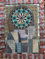 """Joel Jover #8009 (SL) """"Retrato!, Mona Lisa,"""" 2008. Mixed media: Bucareno beer cans, wood. 32 x 24 inches.   Private collection, NFS"""