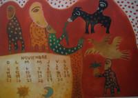 Mendive (Manuel Mendive) #5729 (SL) NFS Untitled, 12.75  x 18 inches.