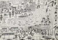 "Isabel De Las Mercedes #2753B. ""La biegita con 73."" 1997. Ink on paper. 11 x 16 inches."