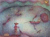 Basulto (José Basulto Caballero)  #4006. (SL) Untitled, 2004. Colored ink and pencil on paper.  7 x 9.5 inches.