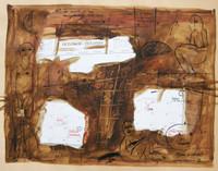 """Montebravo (José Garcia Montebravo) #3034. """"Agenda de Octubre,"""" 2002. Watercolor on paper. 19.5 x 25.5 inches."""