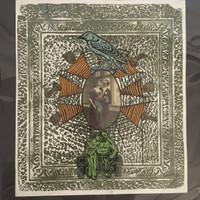 "Brito (Yamilys Brito Jorge) #3139. ""Serie: El amor puede ser..."" 2003. Mixed media collage: Xylograph and linoleum print. 14.5 x 12.75 inches"
