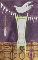 """Sanfiel (Jorge Luis Sanfiel) #3188. """"La silla de Obatala,"""" N.D. Acrylic on paper. 11.25 x 7.25 inches."""