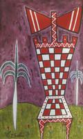 """Sanfiel (Jorge Luis Sanfiel) #3189. """"La silla de Chango,"""" 2003. Acrylic on canvas. 11.25 x 7 inches."""