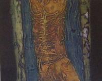 "Choco (Eduardo Roca Salazar) #3449. ""Torso,"" 2002. Collagraph print, artist proof. 14.25 x 15 inches."
