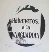 """Sandra Ceballos #3369 (SL) """"Habaneros a la vanguardia,"""" N.D. Lithograph print edition 155 of 300. 8 x 8 inches"""