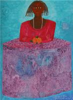 "Montebravo (José Garcia Montebravo) #4953. "" La hija de Oyá,"" 2009. Mixed media/oil on canvas.   32.25 x 24 inches. SOLD!"