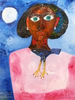 """Montebravo (José Garcia Montebravo) #4954 (SL) """"Retrato de Nieves con pajarraco,"""" 2009. Mixed media/oil on canvas.   32.25 x 24 inches.   SL private collection"""