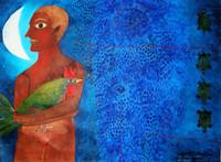 """Montebravo (José Garcia Montebravo) #4955. """"Perfil con 4 jicoteas,"""" 2008. Oil on canvas. 22.25 x 29.75 inches.  SOLD!"""