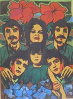 "Raúl Martinez, "" La gran familia,"" 1975. Acrylic on cardboard, 40 x 30 Inches. SOLD!"