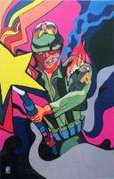 """Rostgaard (Alfrédo Gonzalez Rostgaard) (OSPAAAL) NFS>> """"Imperialist machine,"""" 1971. Offset. 21 x 13 inches.. NFS"""